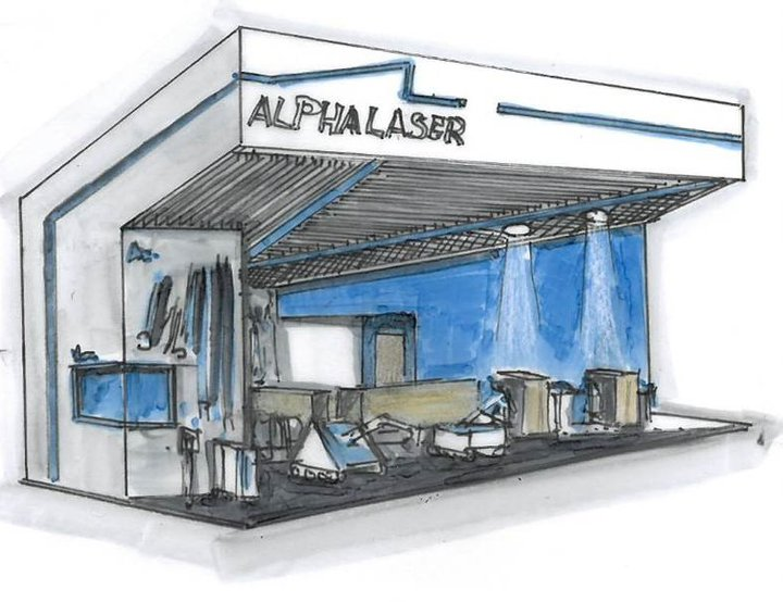 Alpha Laser Messestand Skizze Bruns Messebau